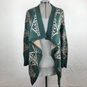 Staring at Stars green tribal waterfall sweater-S